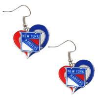NHL New York Rangers Swirl Heart Earring Charm Gift Set