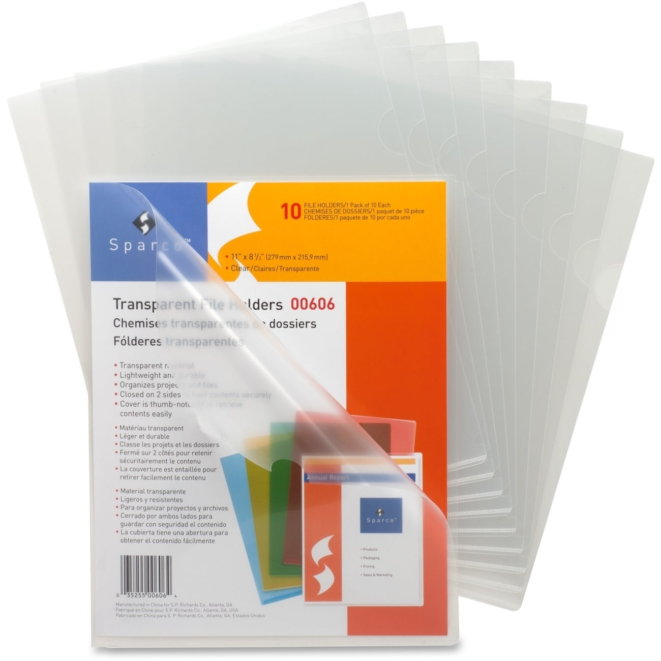SPARCO Transparent Poly File Holders (Pack of 10) (SPR006...