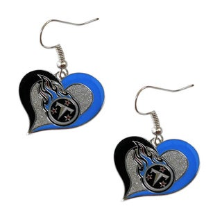 NFL Tennessee Titans Swirl Heart Earring Charm Gift Set