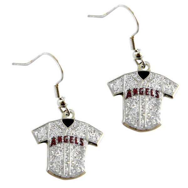 MLB LA Angels Glitter Jersey Charm Dangle Earring Set