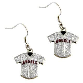 MLB LA Angels Glitter Jersey Charm Dangle Earring Set