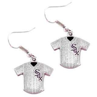 MLB Chicago White Sox Glitter Jersey Charm Dangle Earring Set