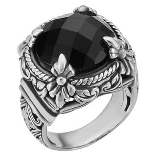 Sterling Silver Black Onyx Floral Cawi Ring (Indonesia)