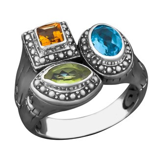 Handmade Sterling Silver Multi Gemstone Cawi Ring (Indonesia) (4 options available)