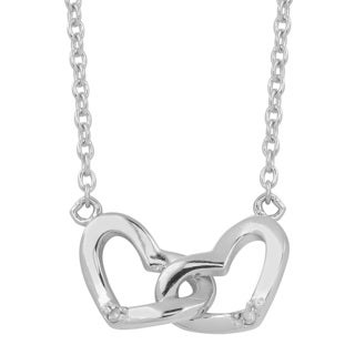 Fremada Rhodium-plated Sterling Silver Diamond Accent Heart Necklace (18 inch)