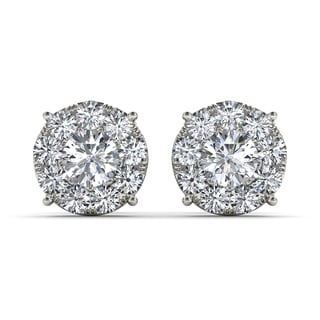 De Couer 10k White Gold 1 1/4ct Diamond Cluster Stud Earrings (H-I, I2)