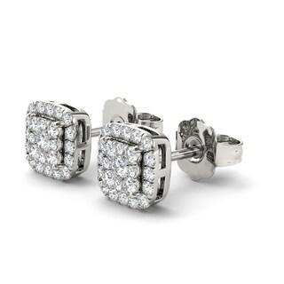 De Couer 10k White Gold 1/2ct Diamond Cushion Shape Stud Earrings