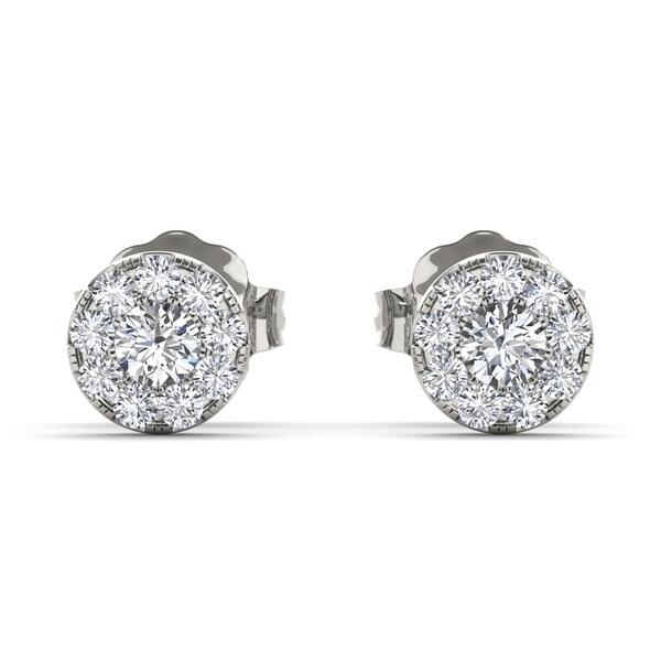 De Couer 10k White Gold 1 3ct Diamond Halo Stud Earrings