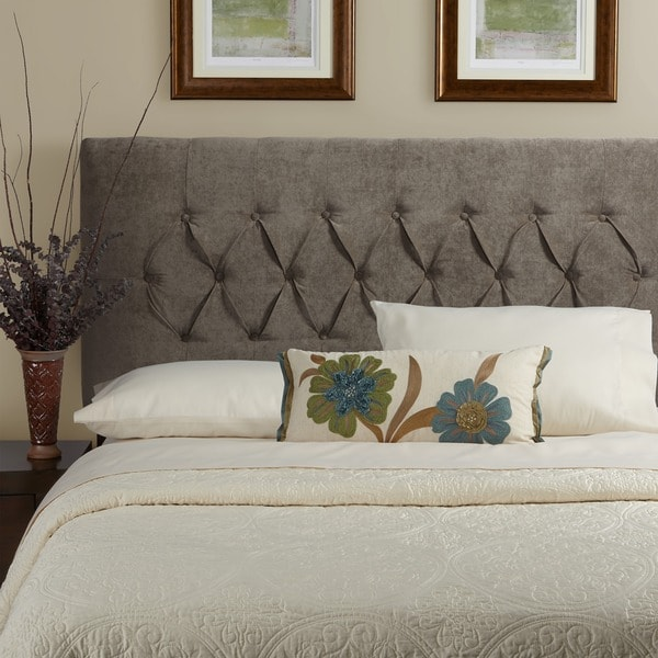 Humble Haute Halifax Velvet Light Grey Diamond Tufted Upholstered Headboard
