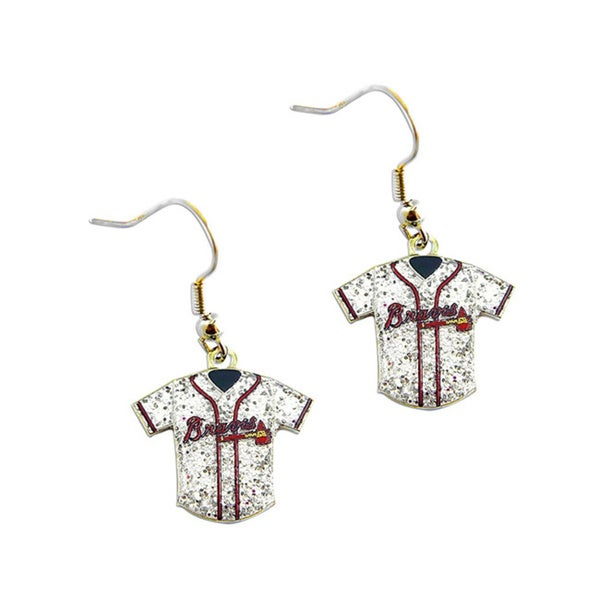 MLB Atlanta Braves Glitter Jersey Charm Dangle Earring Set