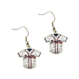 MLB Atlanta Braves Glitter Jersey Charm Dangle Earring Set