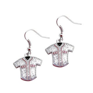 MLB Boston Red Sox Glitter Jersey Charm Dangle Earring Set
