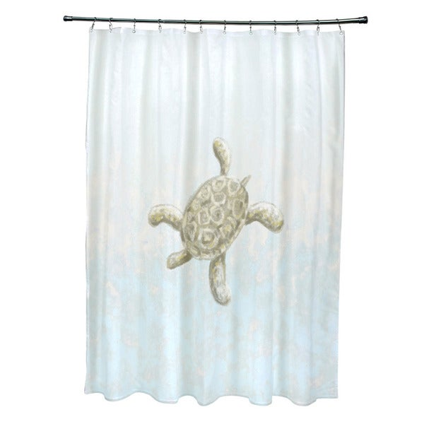71 X 74 Inch Tortuga And Water Coastal Shower Curtain