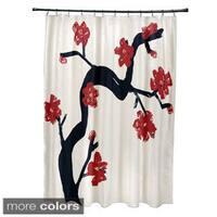 71 x 74-inch Dragon, Peach, Teal Floral Shower Curtain