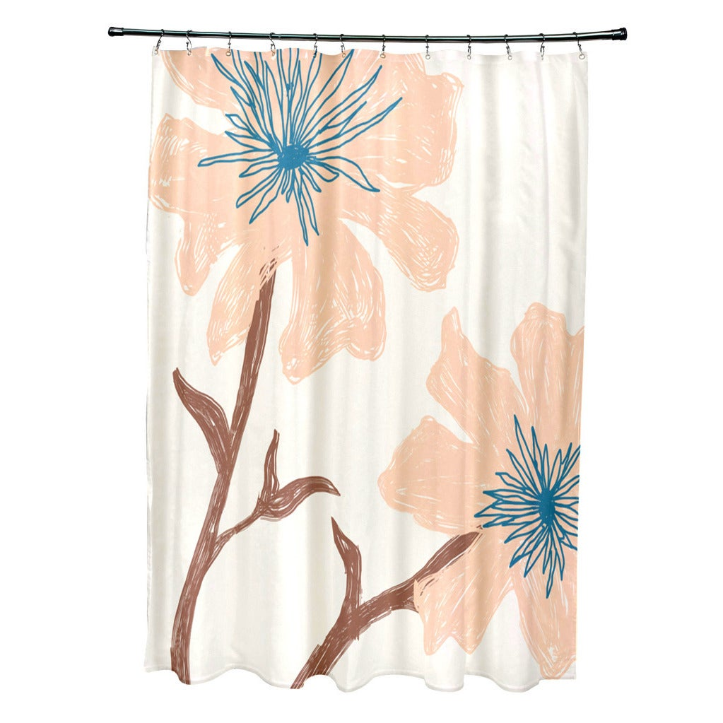 E By Design 71 x 74-inch Funky Floral Print Shower Curtai...
