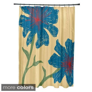 71 X 74 Inch Multi Funky Floral Shower Curtain