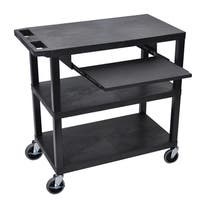 Black 3-shelf Presentation Station with Pullout Shelf and Electric Shelves