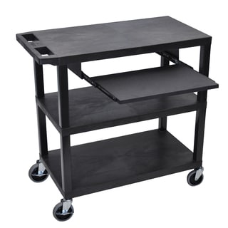 Luxor EA Series Black 3-shelf Presentation Station with Pull-out Shelf