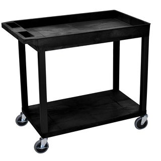 Luxor Black Plastic High Capacity Top Tub and Flat Bottom Shelf Cart