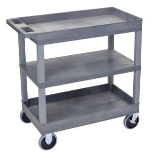 Luxor Grey Flat Shelf 2-tub Rolling Cart