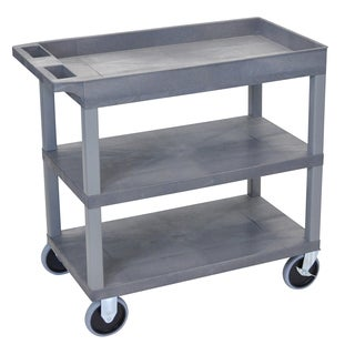 Luxor Plastic Grey High Capacity Top Tub Shelf and Middle and Bottom Flat Shelves Heavy Duty Cart