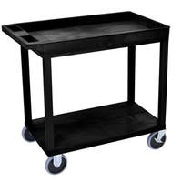 Luxor Plastic Black High Capacity Top Tub Shelf and Bottom Flat Shelf Heavy Duty Cart