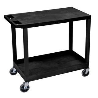 Luxor Plastic Black High Capacity Cart with Top Flat Shelf and Bottom Tub Shelf