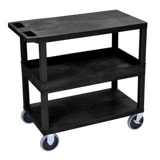Luxor Plastic Black High Capacity Tub and Flat Shelf Cart