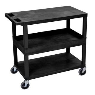 Luxor Plastic Black High Capacity 2-tub 1-flat Shelf Cart