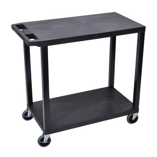 Luxor Plastic Black High Capacity 2 Flat Shelf Cart