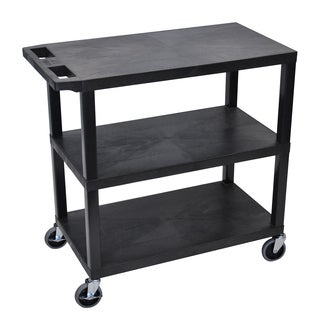 Luxor Black Plastic High Capacity 3-flat Shelf Cart