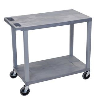 Luxor Plastic Grey High Capacity 2-shelf Flat-top Cart