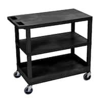 Luxor Plastic Black High Capacity Single-tub Shelf and 2-flat Shelf Cart