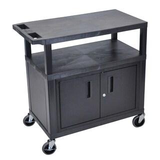 Luxor EA Series Black 3-shelf Presentation Station with Storage Cabinet