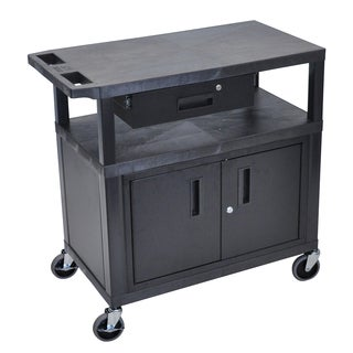 Luxor EA Series Black 3-shelf Presentation Station with Cabinet and Drawer