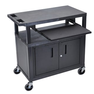 Luxor EA Series Black 3-shelf Electric Presentation Station with Cabinet and Pull-out Shelf