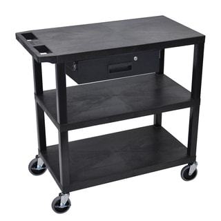 Luxor EA Series Black 32x18-inch 3-shelf Presentation Station with Pull-out Drawer
