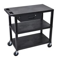 Luxor EA Series Black 3-shelf Electric Presentation Station with Pull-out Drawer