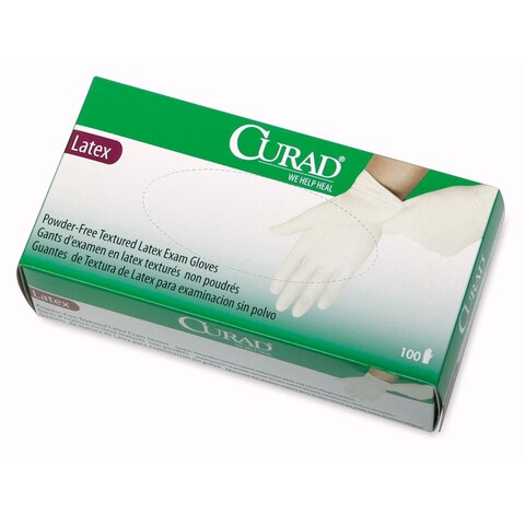 Medline Curad Powder Free Latex Small Size Exam Gloves (Box of 100) - One Size Fits most