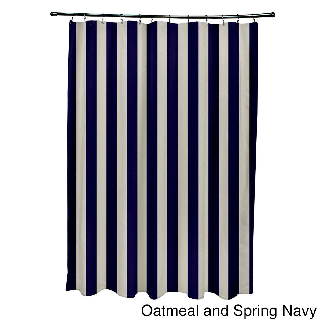 71 X 74 Inch Two Tone Neutral Striped Shower Curtain