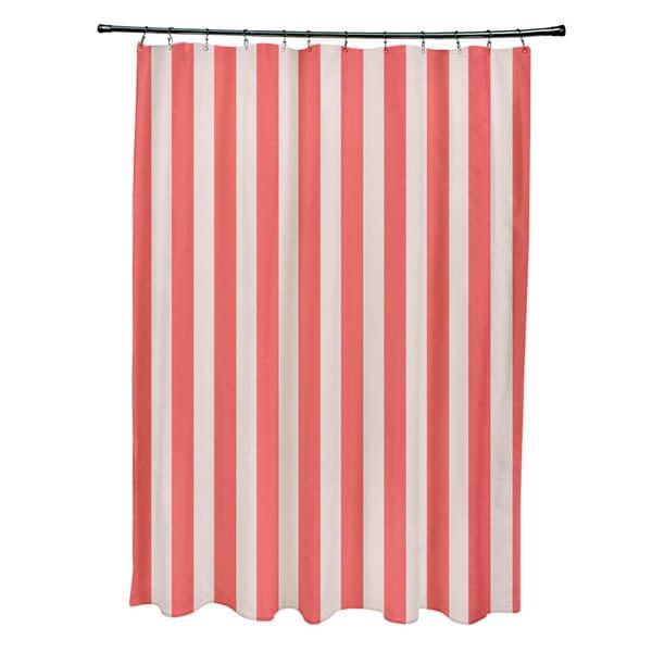 71 x 74-inch Latte Striped Shower Curtain - 71 x 74