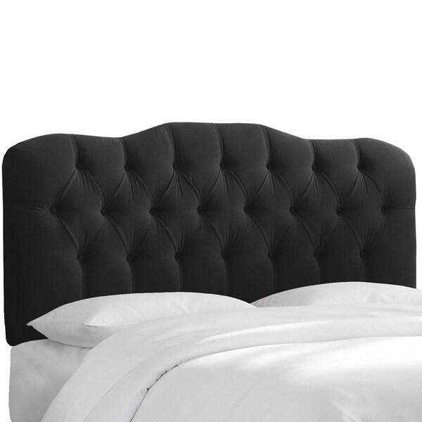 Skyline Furniture Tufted Headboard in Velvet Black