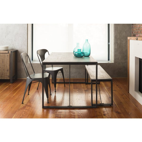 Aurelle Home Industrial Rustic Farmhouse Kitchen Table   Brown