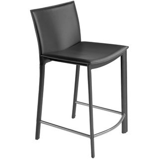 Aurelle Home Classic Italian Leather Counter Stool