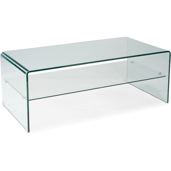 Aurelle Home Glass Coffee Table with Shelf