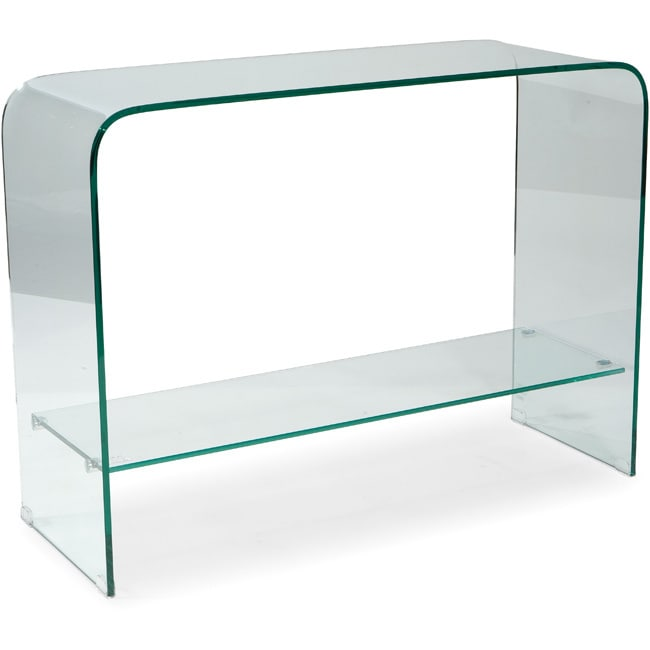 Aurelle Home Glass Waterfall Console Table with Shelf (Clear Console Table)