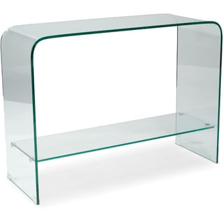 Aurelle Home Glass Waterfall Console Table with Shelf