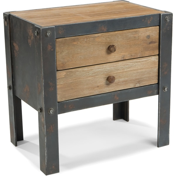 Aurelle Home Rustic And Industrial 2 Drawer Side Table