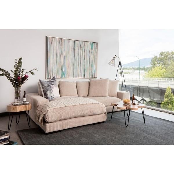 Aurelle Home Polk Latte Sectional Sofa
