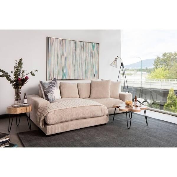 Shop Aurelle Home Polk Latte Sectional Sofa - On Sale - Free ...